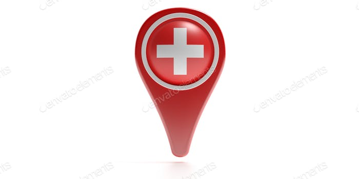 Cross icon on a red color map pointer isolated against white background. 3d illustration