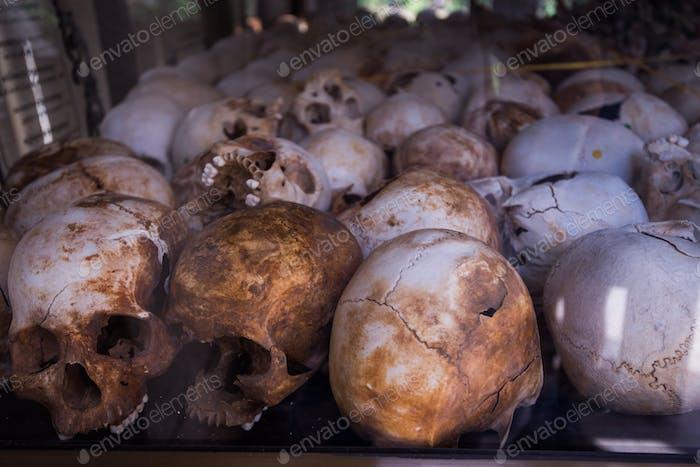 Menschliche Knochen und Schädel im Grab in Kambodscha Todesfelder