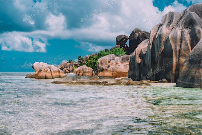 The most beautiful unique beach of Seychelles - Anse Source D'Argent