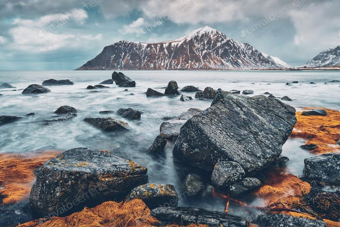 Rocky coast of fjord in Norway