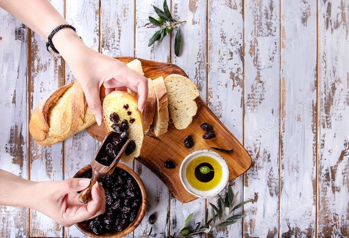 Olive Oil with olives  with bread