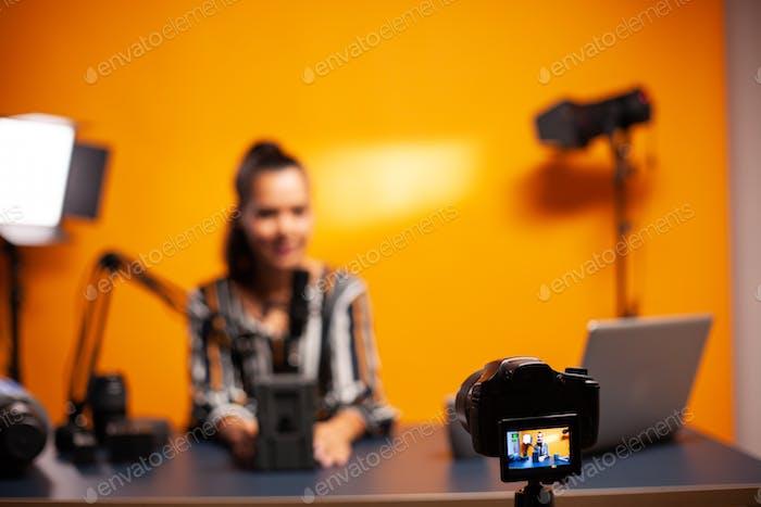 Camera recording vlog