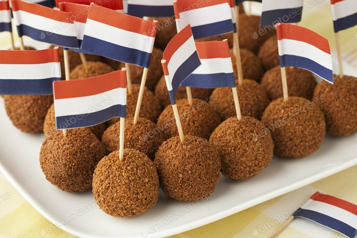 Dutch traditional snack bitterballen with a dutch flag