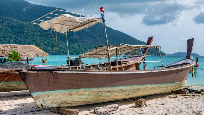 Old Police Boat on Sand Beach, Koh Lipe Thailand