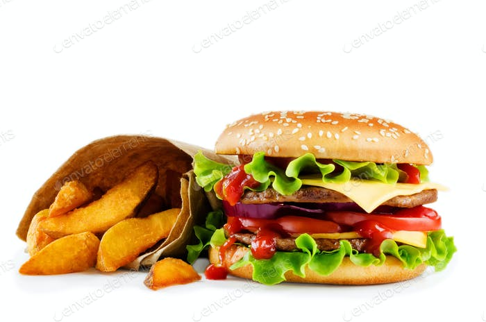 Meat Burger with potato wadges