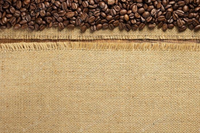 coffee beans and hessian burlap sack cloth