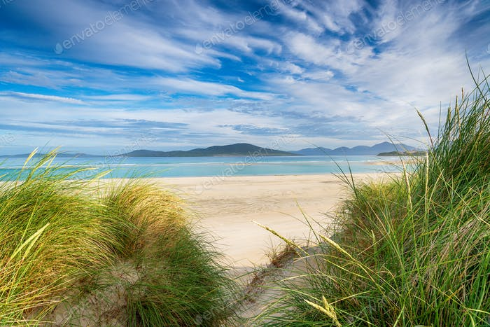 Sand dunes at Seilebost beach on the Isle of Harris