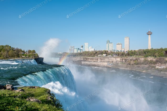 Niagara Falls waterfall with rainbow