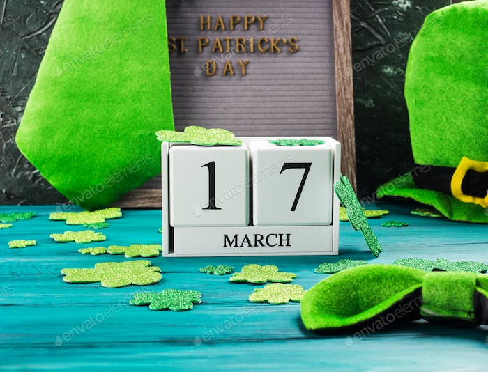 St Patrick Day date and greetings on letter board