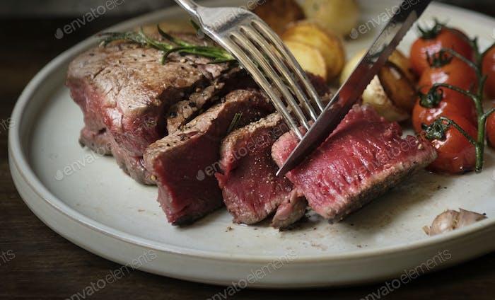 Beef fillet dinner food photography recipe idea