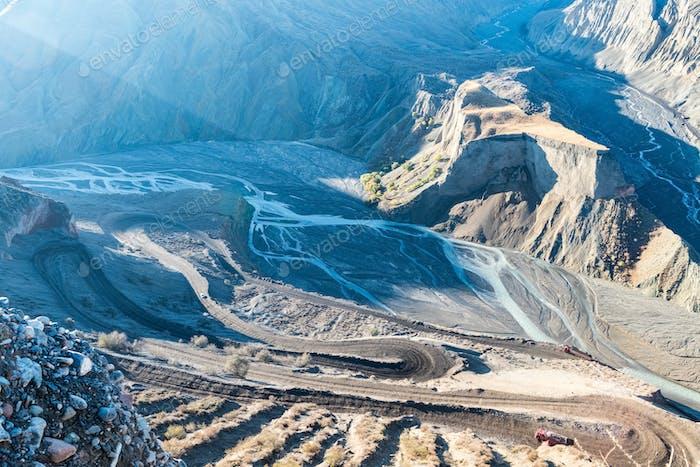 winding mountain road in the grand canyon, xinjiang anjihai landscape