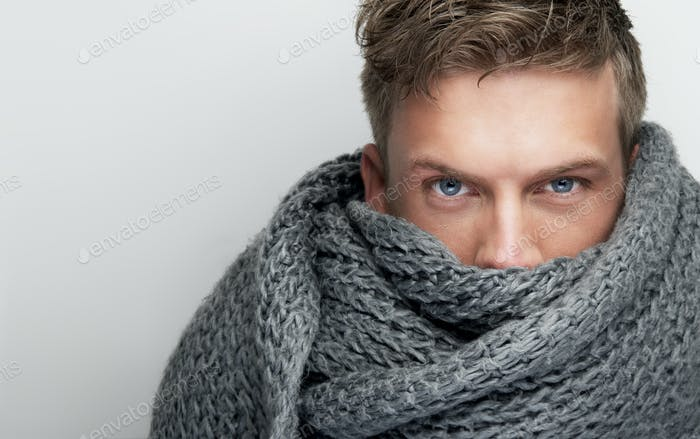Close Up Portrait of Scarf covering Face