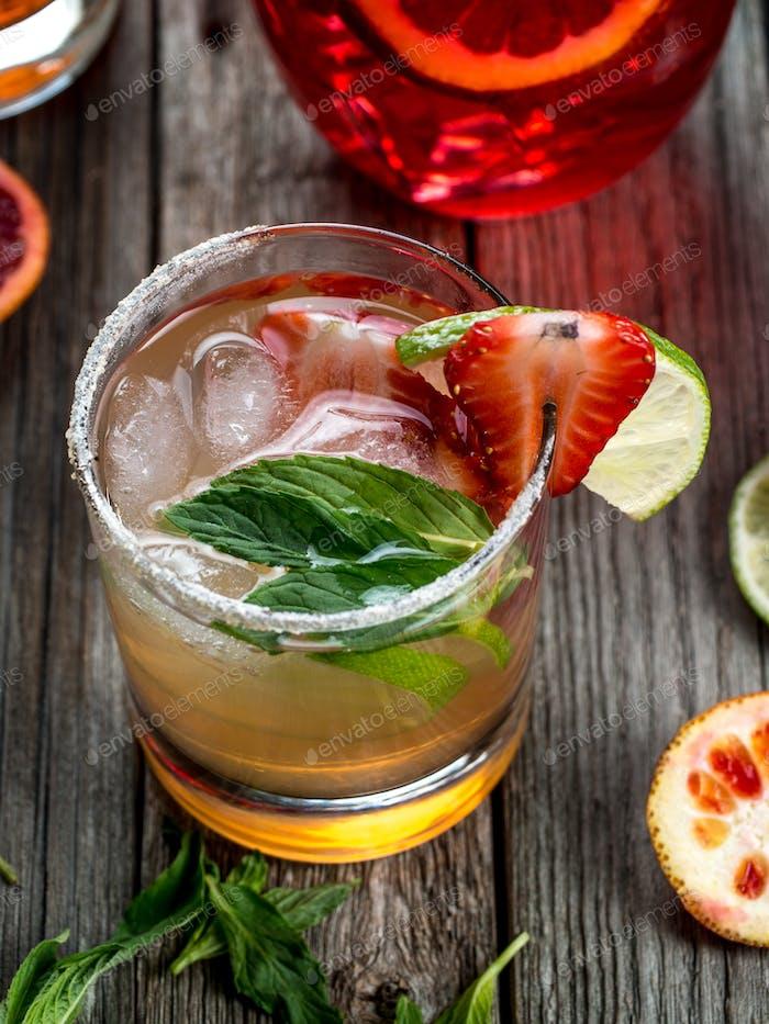 Strawberry mojito cocktail