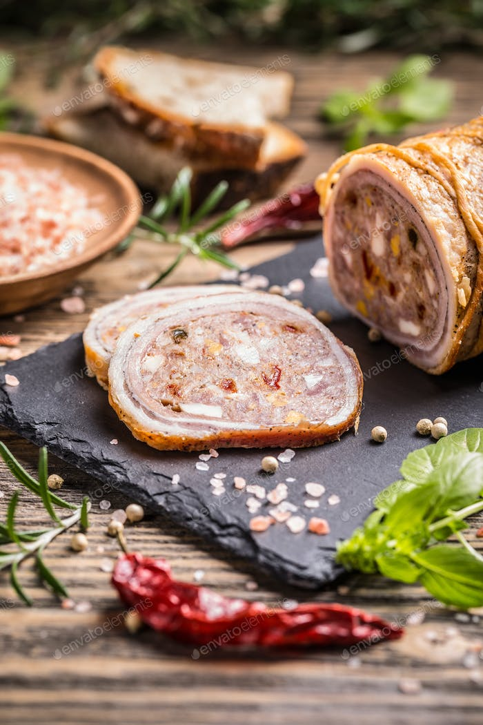 Stuffed pork roulade