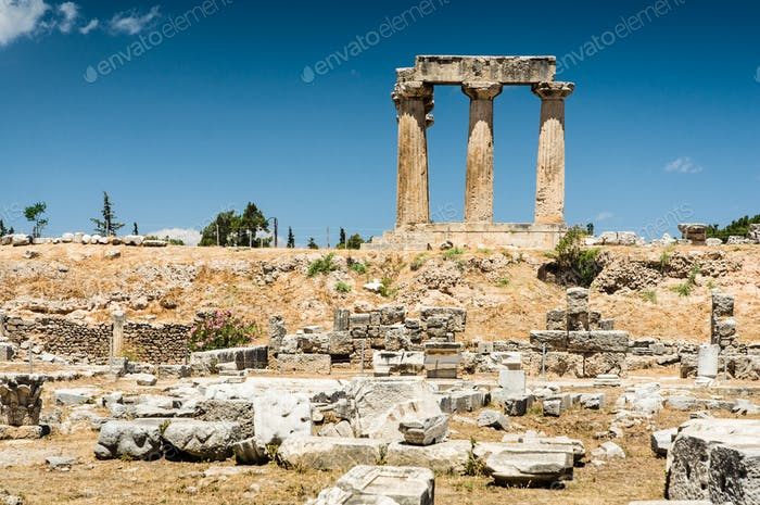 Ruins of temple in Corinth, Greece - archaeological site