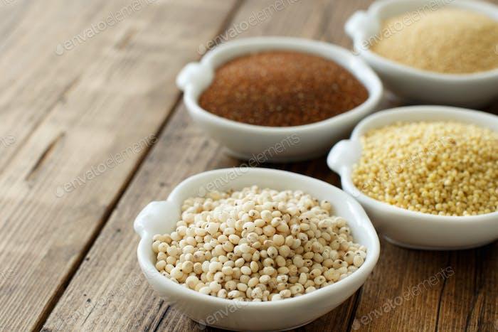 Glutenfreie Körner - Amaranth, Sorghumkorn, Teff und Hirse