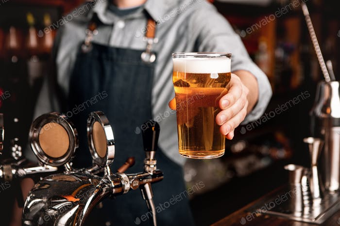 Bartender serves light beer to client at bar interior of pub