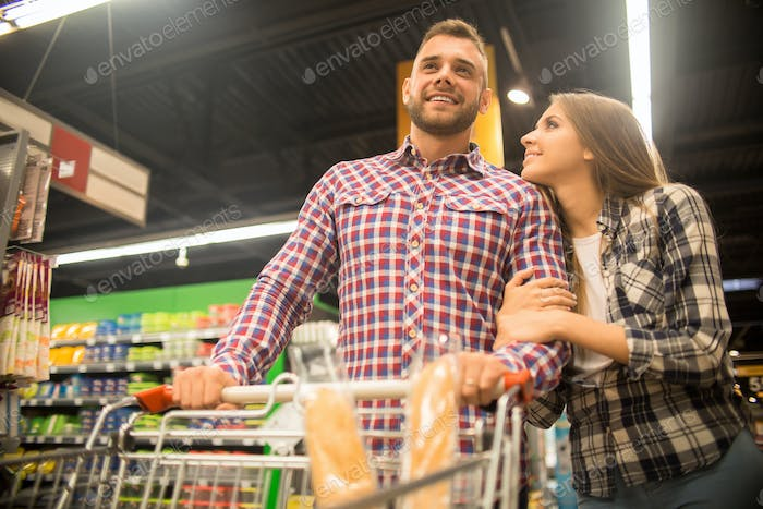 Young Couple in Supermarket