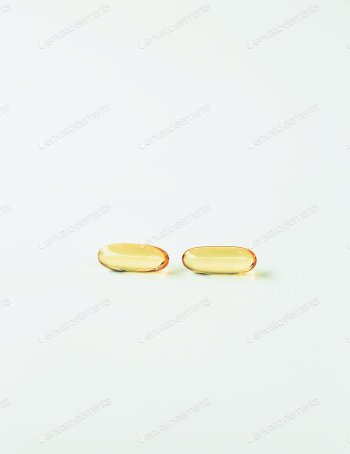 Fish oil providing Omega-3,in softgel supplement capsules, a health supplement