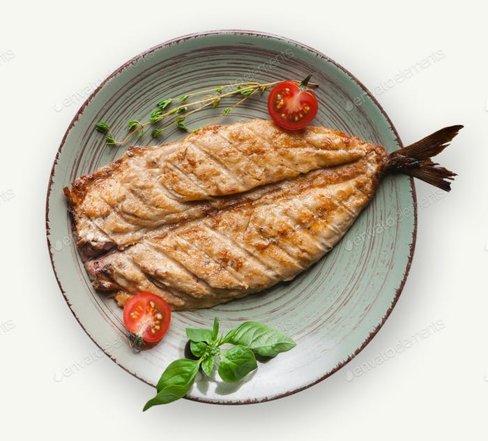 Fish dish isolated on white background
