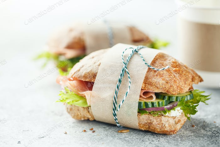 Delicious Sandwiches with Ham and vegetables