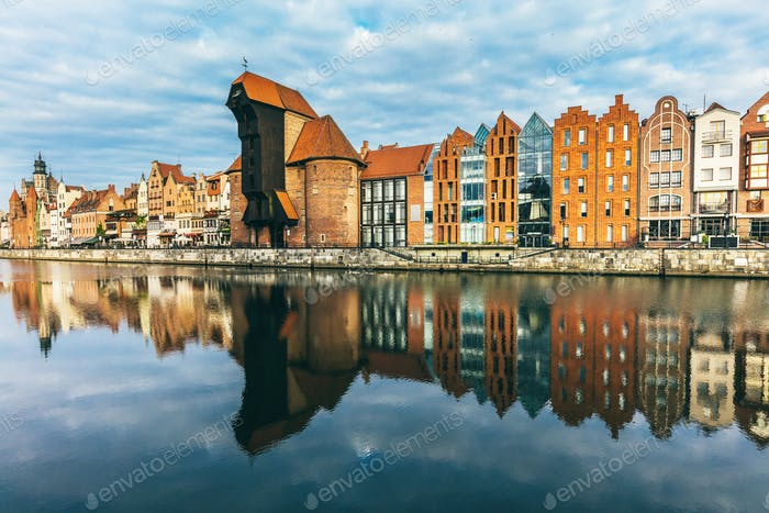 Old buildings and Zuraw crane near Motlawa river in Gdansk