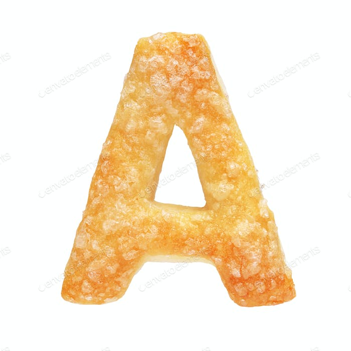 Letter A made from cookie isolated on white background