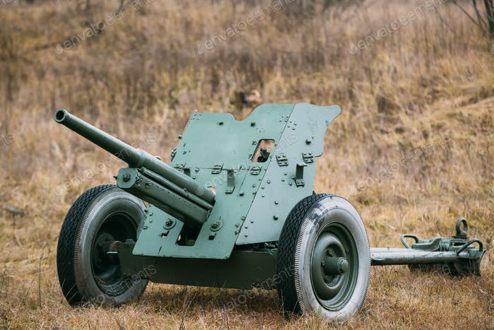 Russian Soviet 45mm Anti-tank Gun. It Was The Main Anti-tank Wea