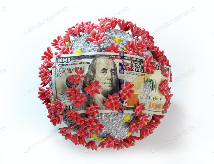 One hundred dollar bill on coronavirus Covid19. Economic crisis