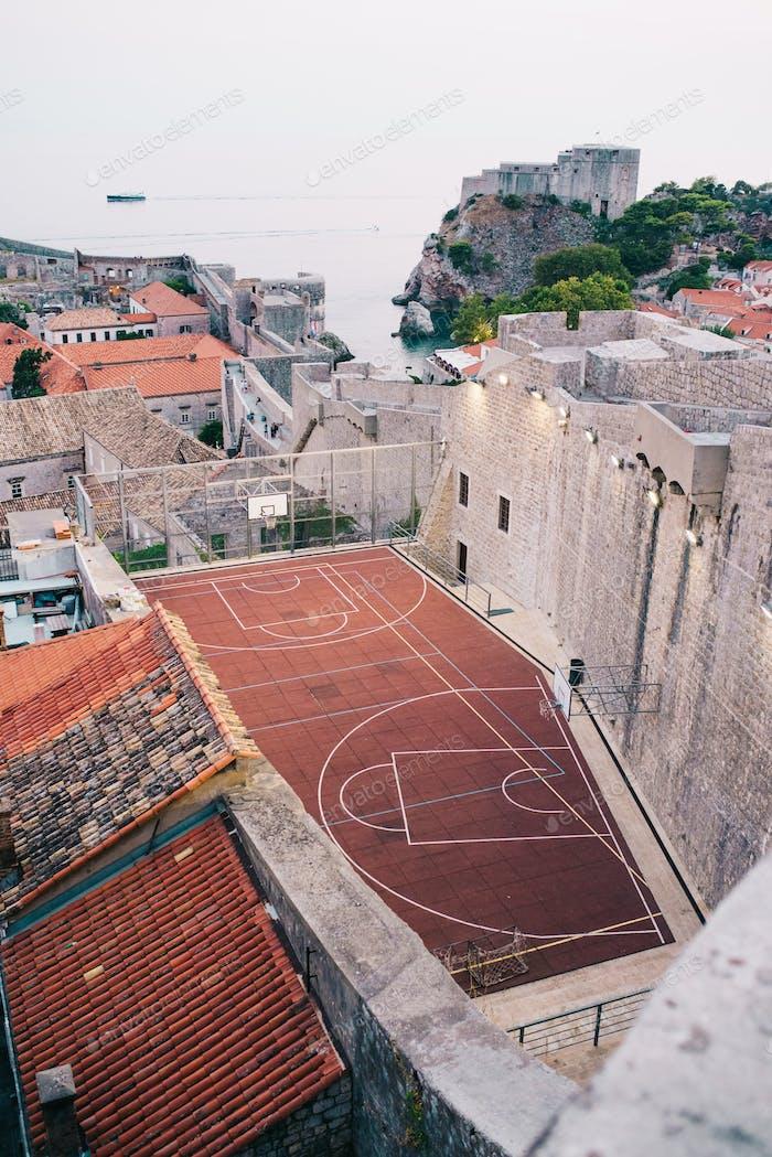 Outdoor basketball court in Dubrovnik
