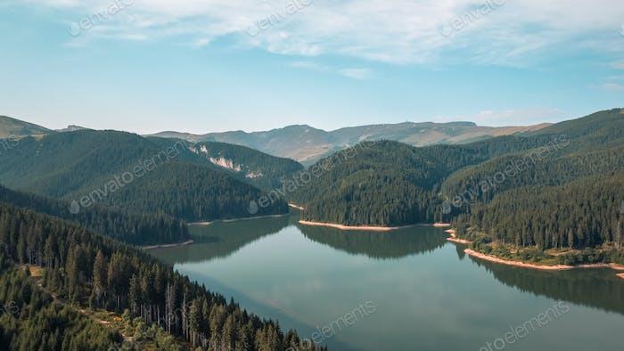 Aerial Landscape of Bolboci Lake, Romania