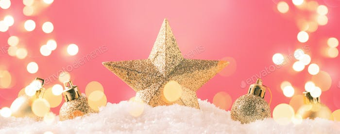 Christmas pink background with golden star