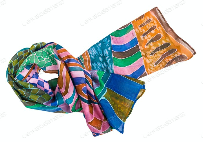 knotted scarf painted in batik technique isolated