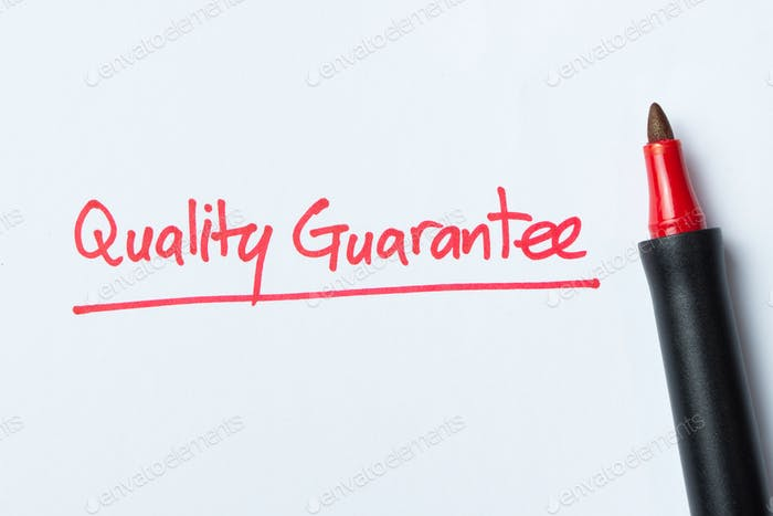Handwriting of quality guarantee