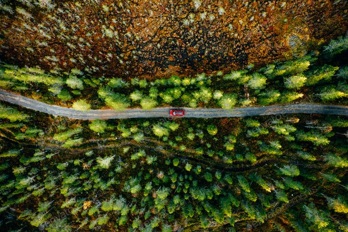 Aerial view of car on a country road in green forest in Finland