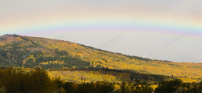Rainbow Over Fall Color Montana Landscape