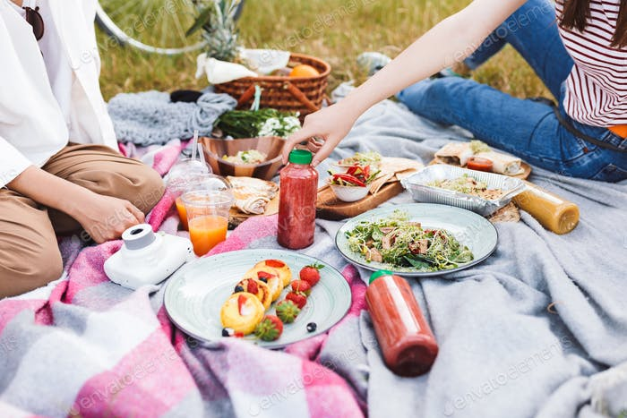 Close up photo of girls spending time on picnic with delicious f