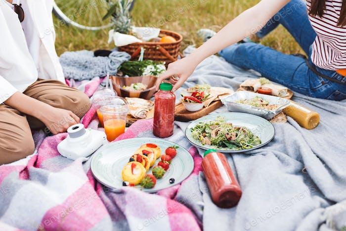 Nahaufnahme Foto von Mädchen verbringen Zeit auf Picknick mit leckeren f