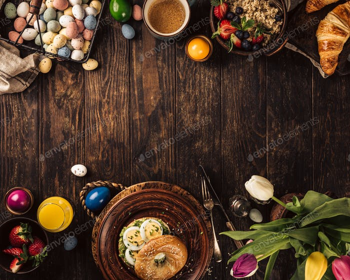 Easter breakfast flat lay