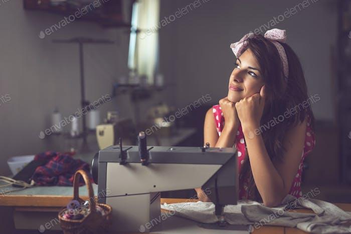 Seamstress on a break