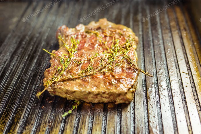Grilled meat. Juicy steak from beef.