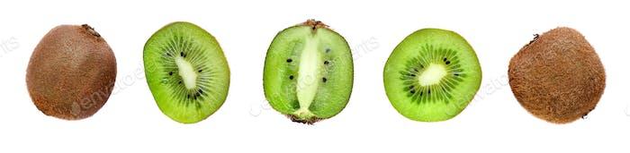 Kiwi fruit isolated on white background. Kiwi collection. Top vi