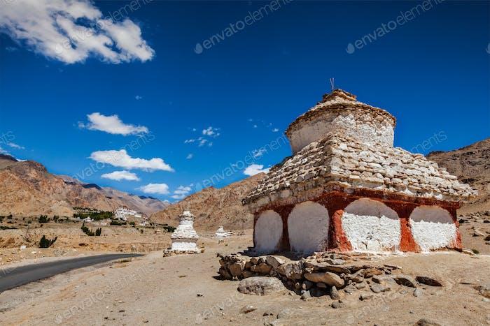 Whitewashed chortens near Likir monastery
