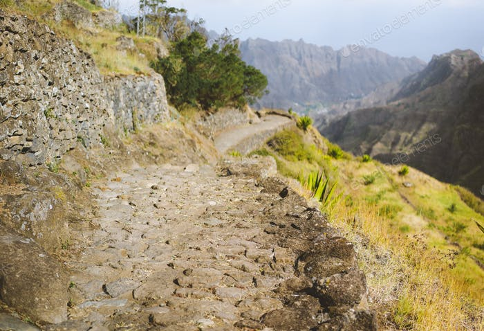 Typical trekking trail on Santo Antao, leads between huge rocks down to the Coculi valley. Cape