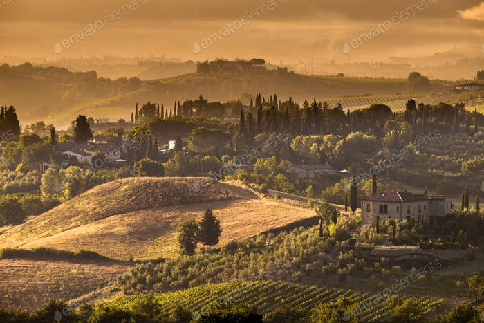 Tuscany Village morning landscape Scene near Volterra