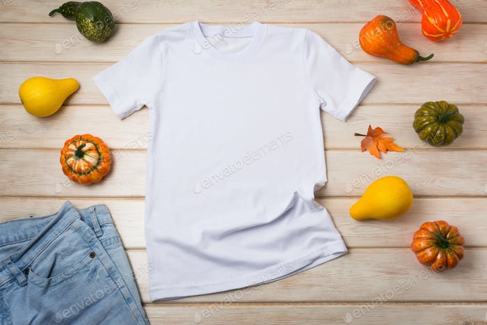 Placeit – Unisex T-shirt mockup with pumpkins