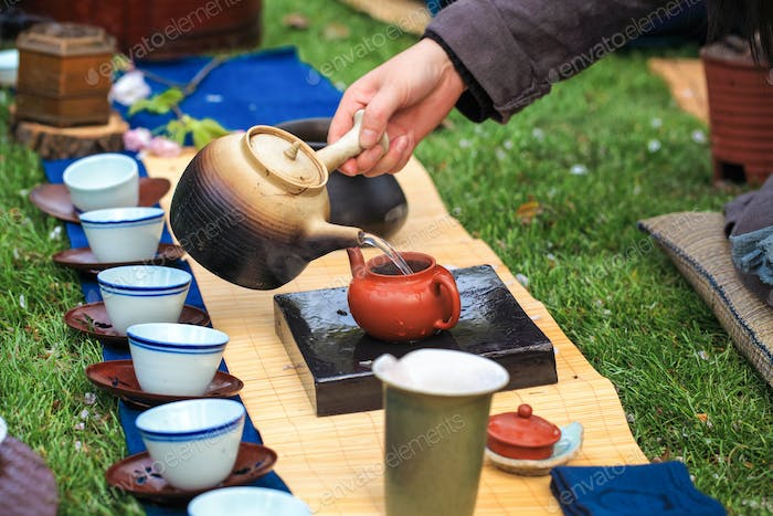 closeup of traditional tea ceremony in asia style