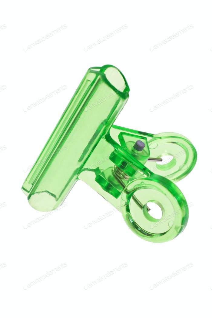Green plastic paper clip