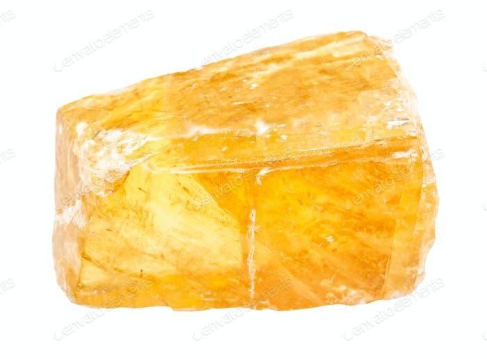 unpolished transparent yellow Calcite gemstone