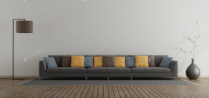 Minimalist living room with large sofa